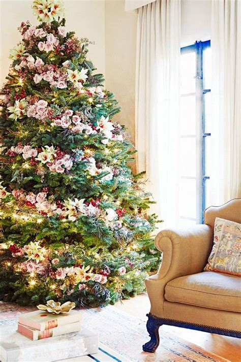 traditional christmas tree with flower ornaments