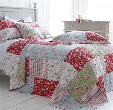Patchwork Bedspread - blue green floral bedding cotton quilted patchwork