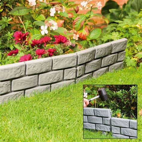Landscape Edging Grey Garden Patio Edging Brick Effect Plastic Hammer In Lawn