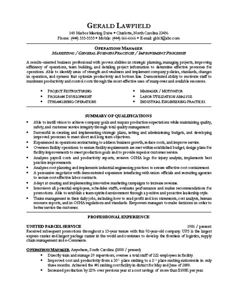 Manager Resumes by Sle Resume For Operations Manager Resume Design And