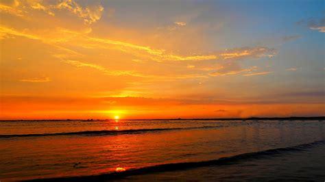 sunset ocean sea waves sky  red cloud beautiful hd
