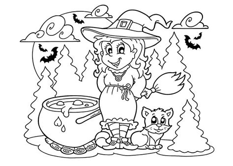 witch with ghosts coloring page halloween 67 best holidays coloring pages for kids images on