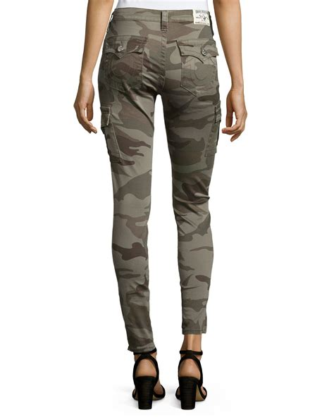 081111 Pant Oliv Zipper true religion camo print zip cuff cargo in brown lyst