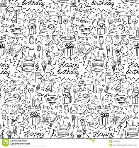 free doodle pattern vector happy birthday seamless pattern stock vector