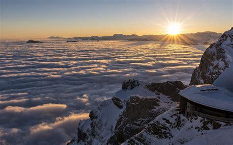 mountains switzerland clouds fog sunset sunrise wallpaper