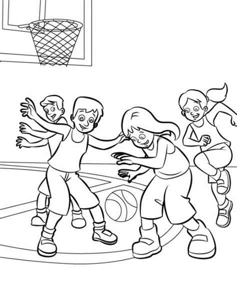 imagenes de niños jugando para colorear kids playing basketball coloring pages sketch coloring page