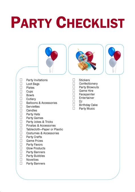 printable birthday supplies best photos of party supply list party supply list