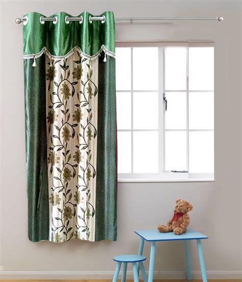 single window curtain homefab india single window eyelet curtain floral green snapdeal price curtains accessories