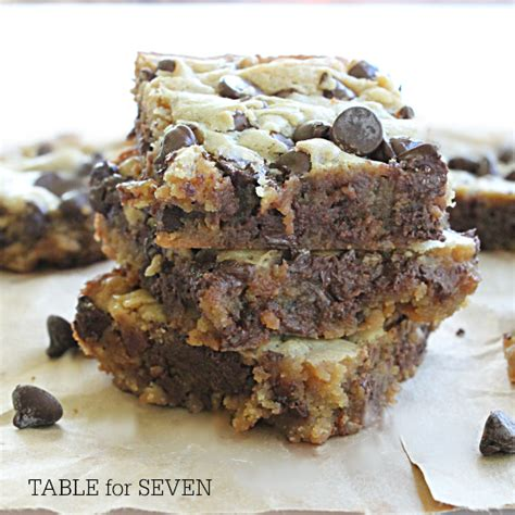 peanut butter bars with chocolate chips melted on top peanut butter chocolate chip bars table for seven