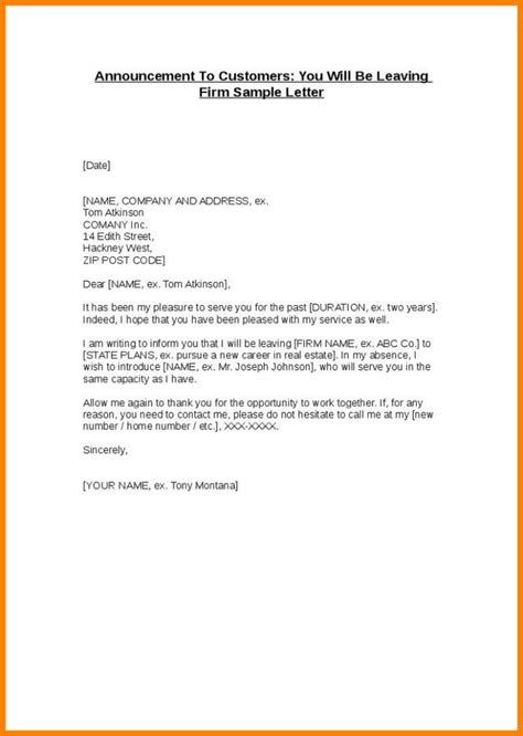 Customer Letter Departed Employee resignation announcement to clients sle letter