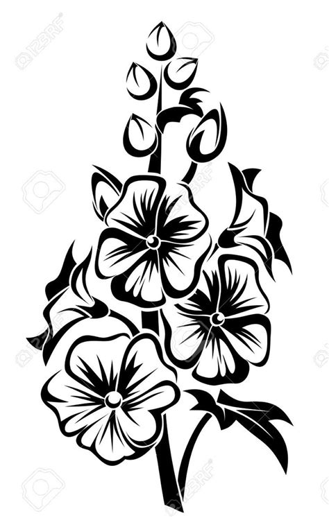 hollyhock tattoo designs flower stencil buscar con stencil
