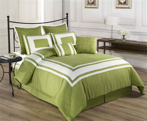 8 Piece Lux Decor Pistachio Green Comforter Set Green Bed