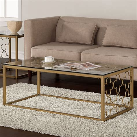 metal glass coffee table quatrefoil goldtone metal and glass coffee table by i