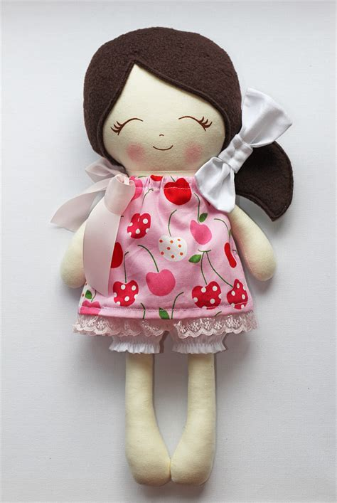 Cloth Dolls Handmade - lil miss pippa handmade cloth doll cherry plum