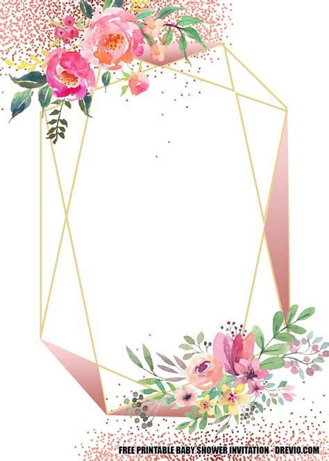 blush floral rose gold geometry invitation templates