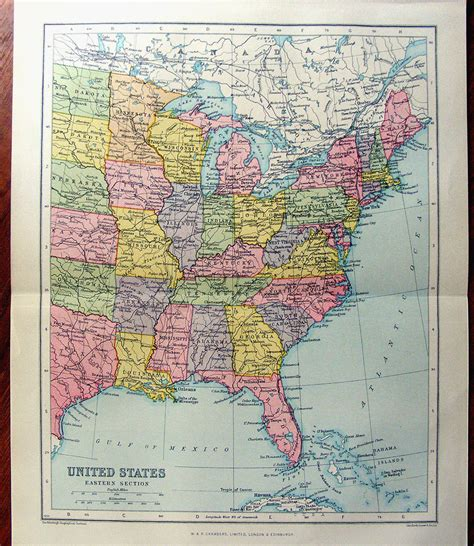 atlas of the eastern large map of eastern united states america 1922 atlas antique