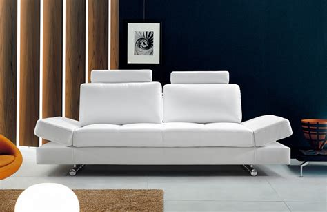 buy sleeper sofa online hymn modern white leather sofa w adjustable backrest modern sofas living room