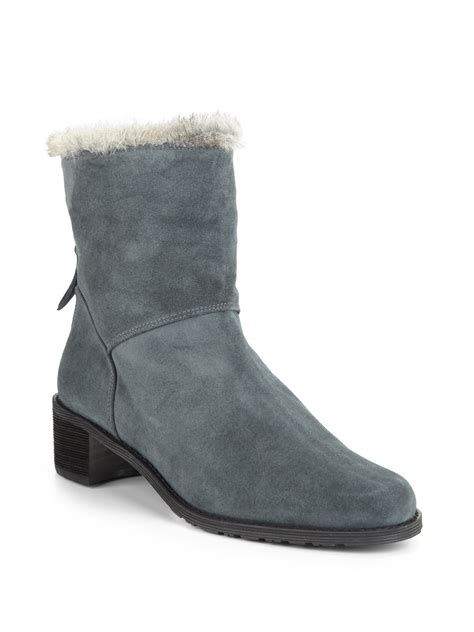 stuart weitzman infurence suede shearling ankle boots in