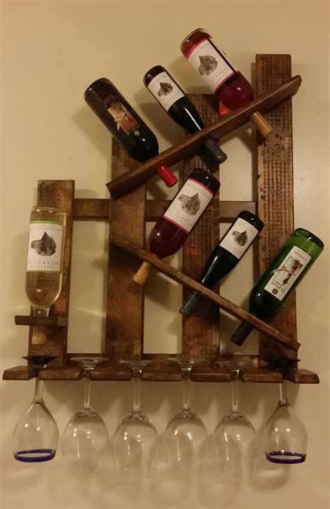 unique wine rack shelf glass holder distressed reclaimed