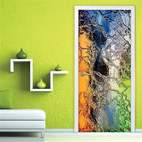 door wall sticker stained glass  adhesive vinyl mural