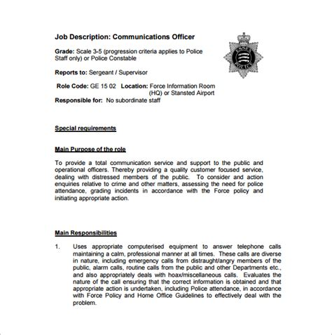 11 officer description templates free sle