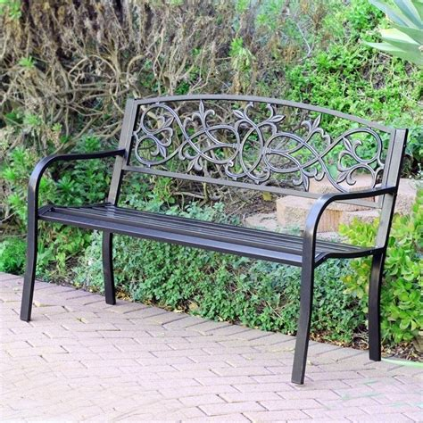 steel park benches jeco 50 quot w scrolling hearts curved back steel park bench in