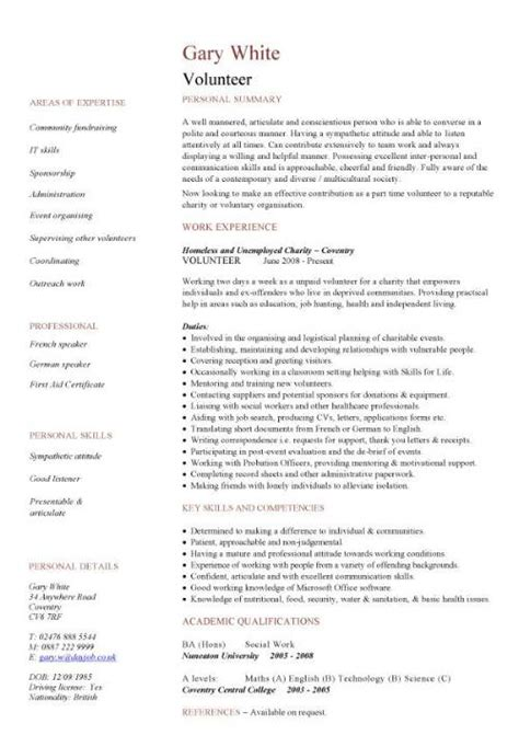 Volunteer Resume Template by Volunteer Cv Sle