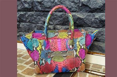 tas kulit aslicelline rainbow python tas kulit asli