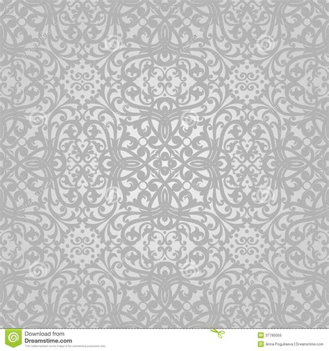 grey wallpaper retro vector seamless pattern with swirls and floral motifs in