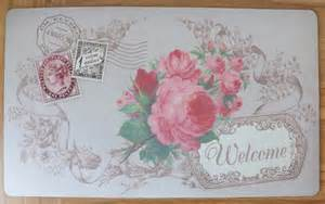 shabby chic french vintage floral welcome door mat paris carte postale pink rose ebay