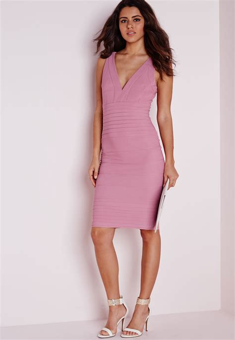 Fashions A30784 Midi Dress Pink missguided bandage bodycon midi dress pink in pink lyst