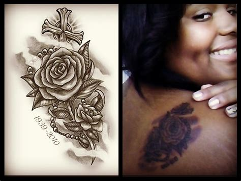 rose with a rosary tattoo and rosary ideas