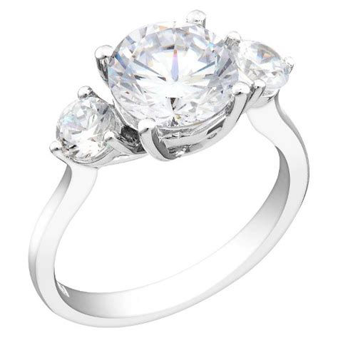 cubic zirconia engagement ring in sterling silver target