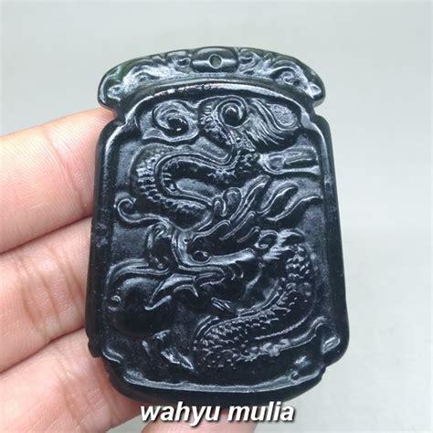 Jade Kalung Pendant pendant batu black jade bentuk naga asli kode 1008