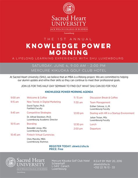 Sacred Mba Electives by 1st Annual Knowledge Power Morning A Lifelong Learning