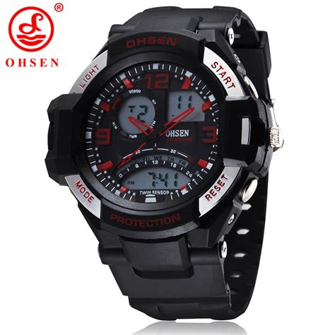 mens boys sports watches dual time analog digital