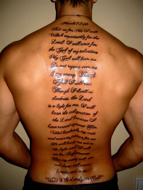 religious back tattoos for men scripts on back for tats