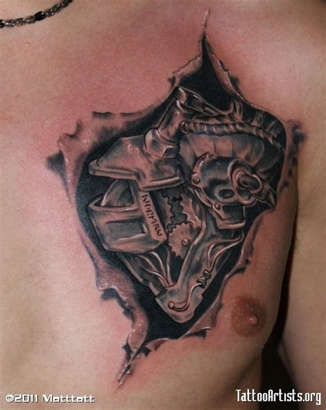 3d heart tattoos designs awesome 3d mechanical on chest
