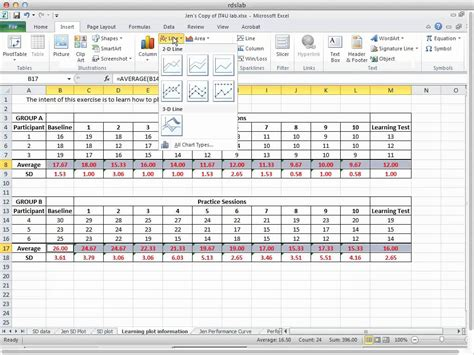 graphing average and standard deviation in excel 2010