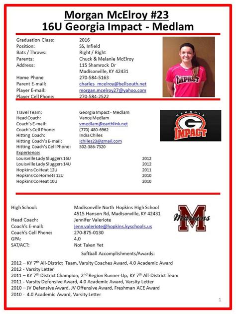 Image Result For Player Profile Sheet Template Abby Pinterest Softball Stuff Athlete Profile Template Free