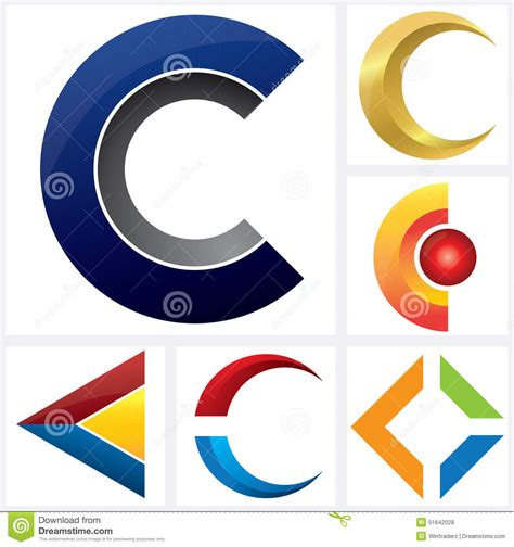 letter c alphabetical logo template stock vector image