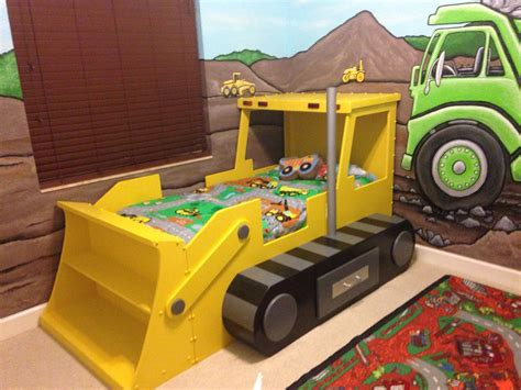 bulldozer toddler bed my sons construction theme room i painted murals on the