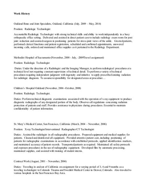 Resume Sle Of Radiologic Technologist Ct Technologist Resume 28 Images Nuclear Medicine Pet Ct Technologist Resume Exle Great Sle