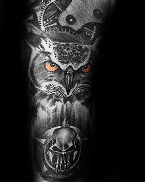 owl tattoo orange eyes 40 owl forearm tattoo designs for men feathered ink ideas