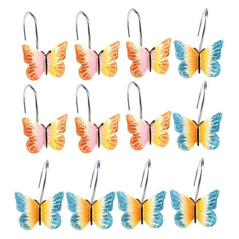 Agptek New 12 Pcs Decorative Butterfly Shower Curtain Hooks