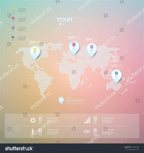 minimal world map abstract map pin icon design with shadows on minimal world