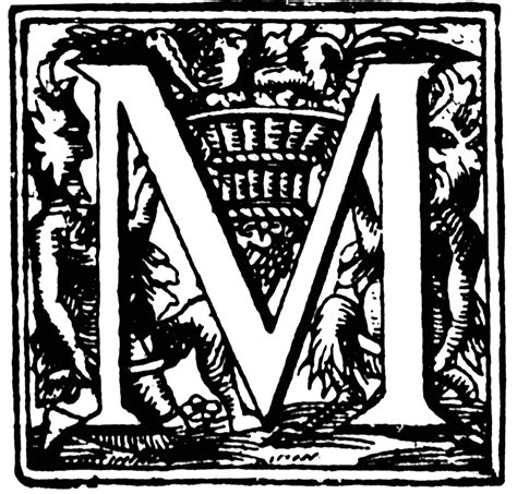 Initial M m ornate initial clipart etc