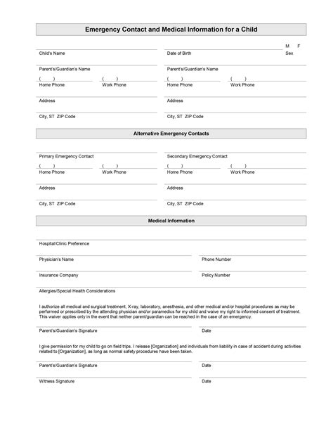 emergency contact template search results for free emergency number templates for