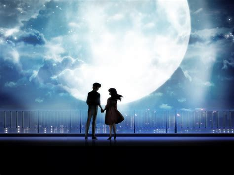 anime art anime couple holding hands moonlight desktop
