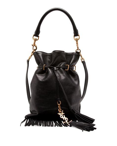 lyst saint laurent monogram small fringe bucket bag  black